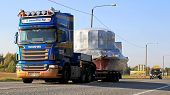 Scania R500 Hauls Wide Load Accompanied By An Escort Car