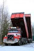 Volvo N12 Truck With Dump Box Trailers Up