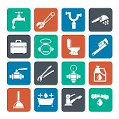 pic of stopcock  - Silhouette plumbing objects and tools icons  - JPG