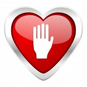 stop valentine icon hand sign
