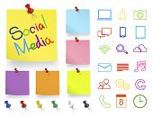 Social Media Icons on Note Pad Vector