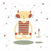 Children Print. Funny Cat Yogi.