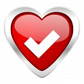 accept valentine icon check sign