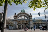 Lucerne, Switzerland - April 20, 2014: Main Entrance To Luzern Railway Station In Lucerne On April 2