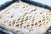 Homemade raw fish pie