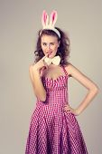 pic of bunny costume  - sexy girl wearing red easter bunny costume - JPG