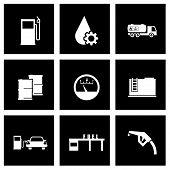 Vector black gas station icon set