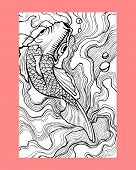 picture of koi fish  - Hand drawn vector illustration or drawing of a traditional japanese koi fish - JPG
