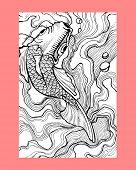 image of koi fish  - Hand drawn vector illustration or drawing of a traditional japanese koi fish - JPG