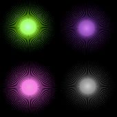 Background Vector - Four Colorful Sun Bursts Over Black