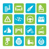 Silhouette Car and road services icons