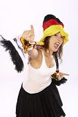Cheerful German Soccer Fan Girl