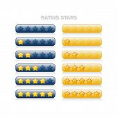 Rating Stars - 0 To 5 - Blue And Yellow