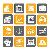 Silhouette Business, finance and bank icons