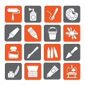 Silhouette Painting and art object icons