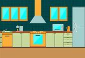 Flat kitchen interior cabinets. Accessories