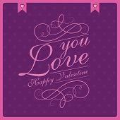 Love you, Valentines day, retro vintage style