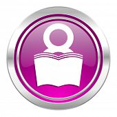 book violet icon reading room sign bookshop symbol