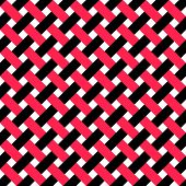 Seamless Intertwined Stripe Pattern. Vector Black and Red Background