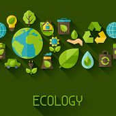 Ecology seamless pattern with environment icons.