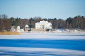 Uzutrakis manor estate in winter, Trakai, Vilnius, Lithuania
