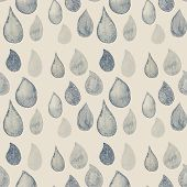 Abstract Watercolor Seamless Pattern With Rain Drops Blue And White Color. Beautiful Seamless Patter
