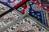 Many Carpets Decorated In An Islamic Mosque