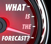 What is the Forecast words on a speedometer asking what the prognosis or projection for growth is in the future
