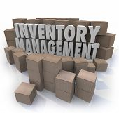Постер, плакат: Inventory management words in 3d letters surrounded by cardboard boxes full of products in a warehou