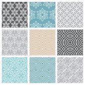 pic of pattern  - Vector seamless patterns set in trendy mono line style  - JPG