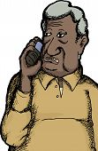 pic of fat cell  - One senior citizen Indian man talking on cell phone - JPG