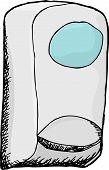 foto of sanitation  - Hand drawn cartoon of wall mounted hand sanitizer - JPG