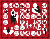 picture of buggy  - illustration symbols family babies buggy on a red background - JPG