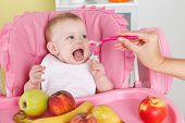 foto of feeding  - Hungry baby is getting feeded in the high chair - JPG