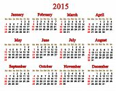 Calendar For 2015 Year In English