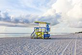 stock photo of beach hut  - wooden beach hut in Art deco style im south beach Miami - JPG