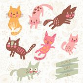 Seven funny kittens in cartoon style. Cats smiling and playing in vector set. Childish illustration in pastel colors