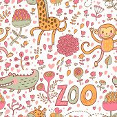 Cute funny animals: crocodile, monkey, giraffe in flowers. Childish cartoon seamless pattern in vector. Ideal for childish designs. Zoo cute texture in warm colors