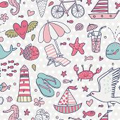 Funny seamless pattern with summer elements: lounge, seagull, umbrella, bicycle, ice-cream, crab, whale, cocktail, lighthouse, fishes, yacht, seahorse in light pastel colors