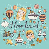 I love travel - cartoon concept background in vector. Travel concept symbols: ship, air balloon, motorbike, cloud, butterfly, bird, bicycle and cute kids