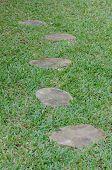 Stone Walkway On Green Grass