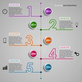 Time line info graphic colored number design template