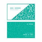 Vector white on green alphabet letters horizontal corner frame pattern business cards set