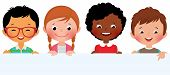 picture of multicultural  - Stock Vector illustration of cute kids holding a blank banner - JPG