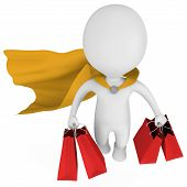 Brave Superhero Shopper With Yellow Cloak
