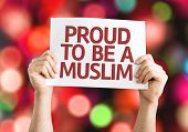 Proud to Be A Muslim card with colorful background with defocused lights