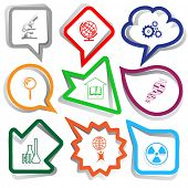 Science set. Paper stickers. Vector illustration.