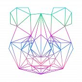 Polygonal Abstract Panda Silhouette Drawn In One Continuous Line Isolated On A White Backgrounds