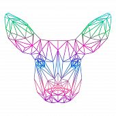 Polygonal Abstract Vector Gradient Colored Deer Silhouette Drawn In One Continuous Line Isolated