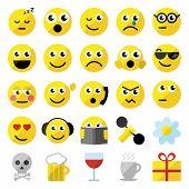 Set Of 25 Emoticons